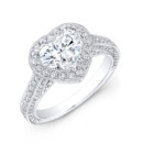 ENG-5598 This 18KT white gold engagement ring features a halo design with 0.90PTS of 146 pave-set round diamonds. The center stone is a heart-shaped diamond that weighs 1.41CTS. Call 213.626.6012 or chat with us at www.goldempirejewelry.com to get the best deal for this beautiful piece!