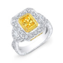 LAD-8166 This 18KT two-tone (white & yellow gold) fashion ring features 0.38PTS of baguettes on the side and 1.45CTS of pave set round diamonds. The center stone is a 2.03CT radiant-cut yellow diamond. Call 213.626.6012 or chat with us at www.goldempirejewelry.com to get the best deal for this beautiful piece!