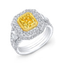 LAD-8166 This 18KT two-tone (white & yellow gold) fashion ring features 0.38PTS of baguettes on the side and 1.45CTS of pave-set round diamonds. The center stone is a radiant-cut yellow diamond that weighs 2.03CTS. Call 213.626.6012 or chat with us at www.goldempirejewelry.com to get the best deal for this beautiful piece!