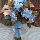 an unusual combination of pale blue hydrangea,
