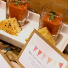 220x220 sq 1467325622109 tomato soup shooters with focaccia triangles