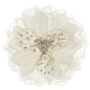 Countess 760  White Flower of Silk with beaded Lace & Crystal Trim