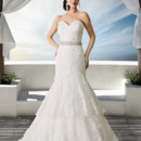 Brand: Diamond Collection Style: Evangelin Style Code: 5657T Sexy strapless gown with lace wrapping the fitted body through to layered skirt.