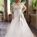 Brand: Glamour Plus Collection Style: Tiffanie Style Code: 5642T Pleating from the sweetheart neck, through the long bodice on an A-line skirt, decorated on bust and hip with heavily beaded embroidery.