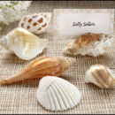 Sea shells guest place card holders set of 6, with matching place cards. Create the perfect beach theme by showing your guests to their seats with these beautiful authentic shell holders. Each dainty, shiny shell holds a placecard and guests can later use these keepsake shells to hold their own photos. A perfect keepsake for your treasured guests.