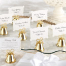 Gold wedding kissing bell, guest place card holder set of 24 braided, open-work bow handle and matching place cards. Bells will ring joyfully on your wedding day, when a single kiss at the altar changes your life forever! Give your guests the pleasure of reliving the moment over and over again with our