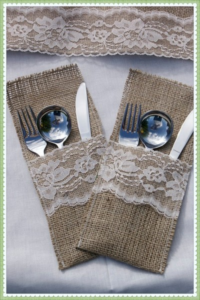 Vintage Burlap Wedding Decor | 1376635634983 Burlap Silverw