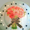 Hand painted plate personalized for your bridesmaids or as a gift for a bridal shower or wedding gift. The plate is frosted with red gerber daisies, black and white poka dot ribbon all etched in gold. Names and dates can be added.