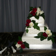 220x220 sq 1421255929395 red and white rose cake