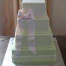 130x130 sq 1399305984061 square green cake with pink bo