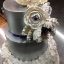 3 Tier Wedding Cake Sprayed in Metallic Silver, Adorned with Handcrafted Flowers and Ruffle Motif Base