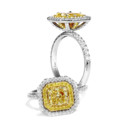Daisy A beautiful design with a fancy yellow Radiant center and a yellow pave frame that enhances the color of the center stone.