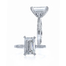 Emerald Paloma Emerald cut Center held by a full pave head with under bezel pave frame and pave shank.