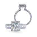 Quadrillion Paloma A Quadrillion center stone with knife-edge pave frame held by a shank with Blaze and pave diamonds.