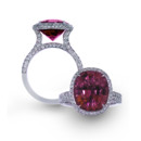 Rubellite Tulip Two-row pave shank curves upwards to hold an exquisite oval Rubellite with a knife-edge pave frame.