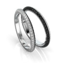 B&W Knife Edge Band Two color knife-edge band with black and white pave diamonds.