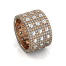 Windows Band-Rose Gold Three rows of bezel set Blaze with pave diamonds frame, create a dazzling band.