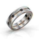 Helm Band, Black Blaze 18k White gold band set with black Blaze diamonds and 18k rose gold twisted wire