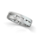Section Band 18k White gold band with Blaze diamonds set along an open center.