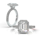 Emerald Victory Ring Emerald cut center with pave frame V shape head and pave shank.