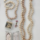 Ombre Pearls (Golden) 16-inch and 62-inch shown with Customizable Photo Charm and Crystal Cross Signature shadowbox charm https://alix.jewelkade.com/Shop