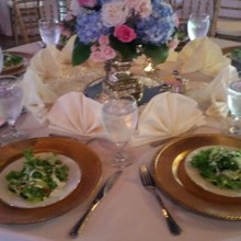 220x220 sq 1467119544065 table set up with gold chargers