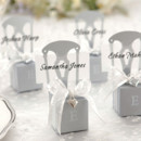 www.warmimpressions.com Miniature Silver Chair Favor Box w/ Heart Charm & Ribbon (Can be Monogrammed)
