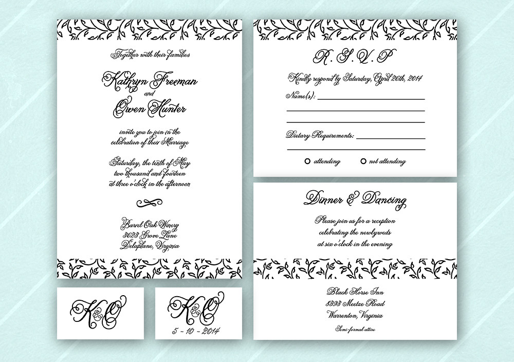 Classic Formal Modern Romantic Vintage Announcement Cards