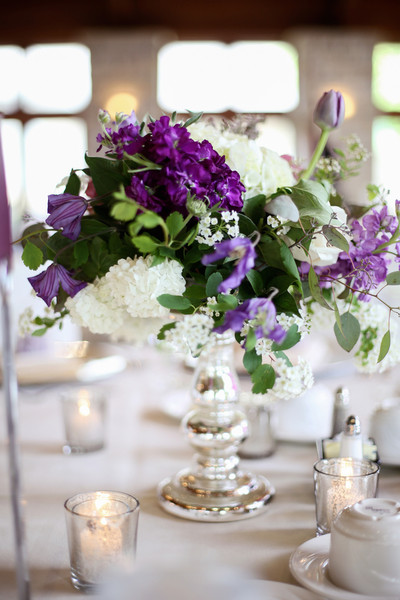Green purple white centerpiece centerpieces delphinium
