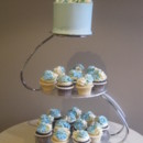 130x130 sq 1374595492012 blue topper and flower cupcakes