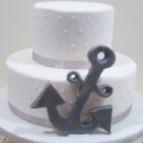 Simple nautical themed fondant wedding cake for a small reception