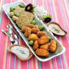 220x220 sq 1508882513117 quinoa fritters potatoe croquettas  fried olives