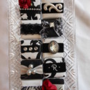Display tray of black/white/red/silver samples