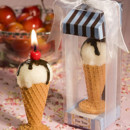 Sweet Ice Cream cone candle. Ideal for Themed parties. We also have a large variety of Favor boxes, tins and bags.