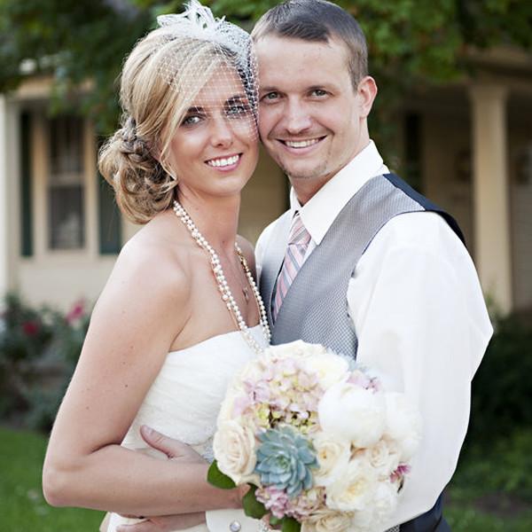 Venue: CJ's Off the Square  Floral Designer: Enchanted Florist  Dress Designer: David's Bridal  Bridesmaid Dresses: David's Bridal  Groom and Groomsmen Attire: Men's Wearhouse