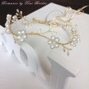 - Handwired Golden hair vine with pearls and rhinestone - Attached to ribbon for tie - Made to order