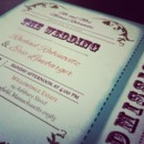 Playbill / Theater Wedding Invitation along with the RSVP which is an
