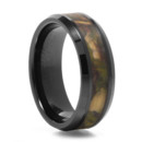 Tough as nails Black Diamond Ceramic paired with a sweet inlay of camo. A nice hefty 8mm wide. And comfort fit for your comfort. Perfect for the hunter groom.