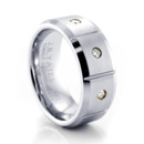This elegant designer Cobalt ring features three striking VS2/G-H diamonds, this ring is sure to attract attention. With the look of Platinum, this 8mm Cobalt Mens Ring is scratch resistant and hypo-allergenic. This comfort fit ring sports a satin finish with high polished beveled edges.