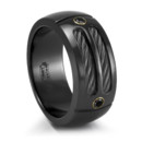 Black Titaium Ring with Black Cables and Black Spinels An amazing ring design by Edward Mirell. Your man will definitely stand out from the crowd with this bad boy on.