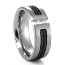 This TRITON titanium ring with Nitinol(black titanium) cable features two tension set diamonds. The different elements of the gray titanium, against the black cable and the white diamonds, creates a uniquely handsome ring. The diamonds are captivatingly held by the cross tension of the ring. Measuring a wide 8mm, and makes a great mens wedding band!