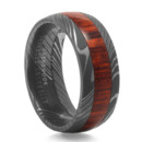 Damascus Steel Wedding Band with Cocobolo Wood Damascus Steel. A centuries old metalsmithing technique involving multiple layers of hardened steel. Paired with exotic Cocobolo Wood. A unique ring for your man.