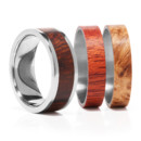 Titanium Ring with 3 interchangeable inlays. Imagine having 3 rings instead of one. This is it. Choose from 3 different types of exotic woods, sterling silver, 14K gold, titanium, or black zirconium.