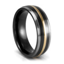 Black Titanium and 18K Yellow Gold Wedding Band An upscaled wedding band in modern materials. By ArtCarved.