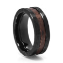 Black Zironium & Copper Wedding Band Black and aged copper look remarkably well together. The hammer finished black zironium has a rugged look. The recessed center area is hammered copper. A modern ring with a distressed look.