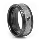 Black Zirconium & Meteorite Ring with Black Diamond Black Zirconium ring set inlaid with Gibeon Meteorite. Set off with a stunning black diamond.