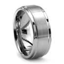 Step Edge Tungsten Wedding Band A best selling tungsten wedding band by Triton. 9mm wide, so it's hefty.