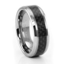Tungsten and Carbon Fiber Wedding Band A popular seller by TRITON. Guys into racing (bike or car) really understand and like carbon fiber. Nice beveled edge design.