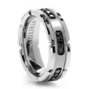 White Tungsten and Black Diamond Wedding Band You will never see another mans wedding band quite like this one. Black diamonds set into white tungsten. Fascinating.
