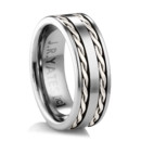 Tungsten Ring with two braids of sterling silver Inspired from the old West. A substantial tungsten ring with twisted silver wire inlay.